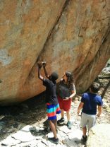 Taking pictures of ancient rock paintings